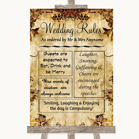 Autumn Vintage Rules Of The Wedding Personalised Wedding Sign