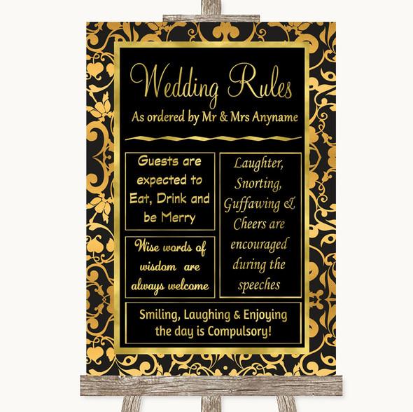 Black & Gold Damask Rules Of The Wedding Personalised Wedding Sign