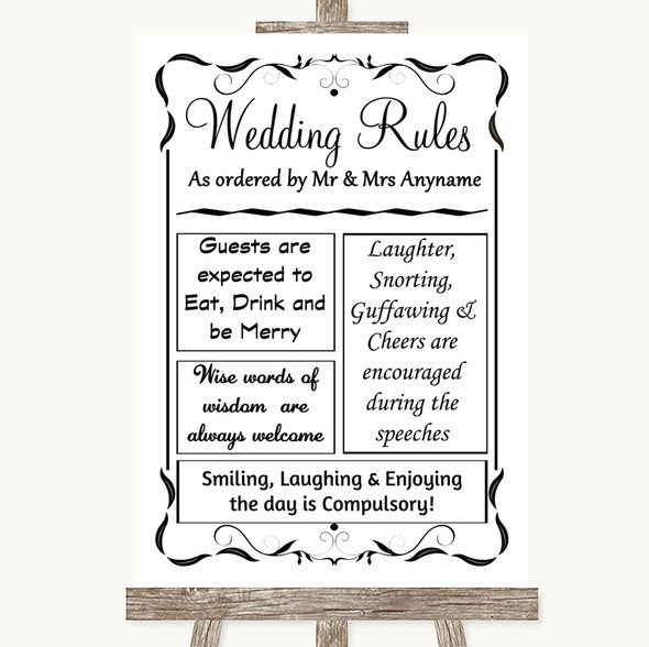 Black & White Rules Of The Wedding Personalised Wedding Sign