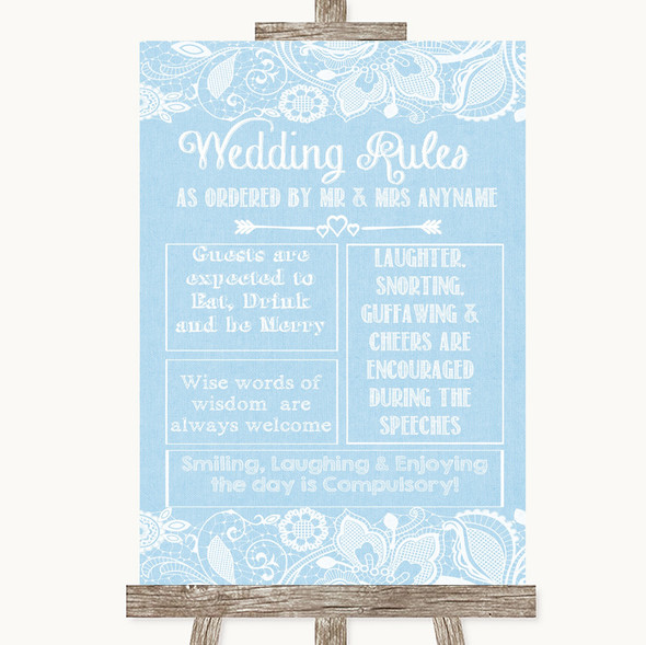 Blue Burlap & Lace Rules Of The Wedding Personalised Wedding Sign