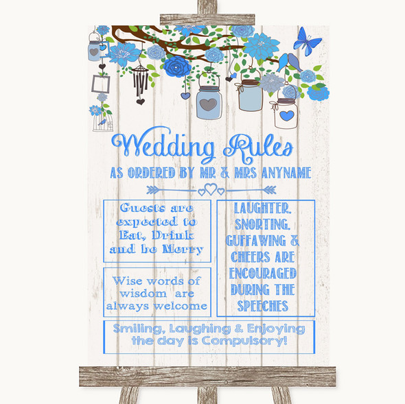 Blue Rustic Wood Rules Of The Wedding Personalised Wedding Sign