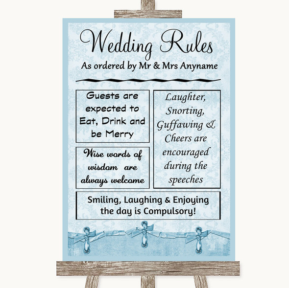 Blue Shabby Chic Rules Of The Wedding Personalised Wedding Sign