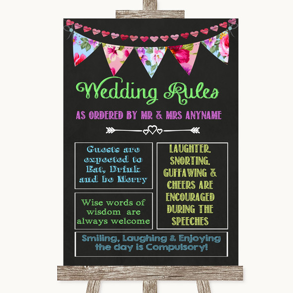 Bright Bunting Chalk Rules Of The Wedding Personalised Wedding Sign