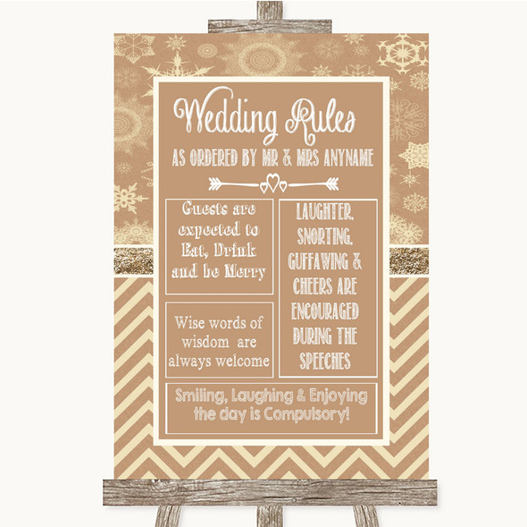 Brown Winter Rules Of The Wedding Personalised Wedding Sign