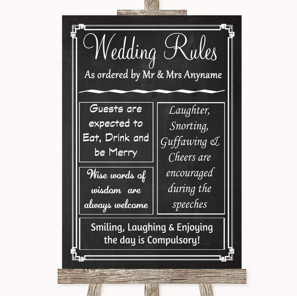 Chalk Style Rules Of The Wedding Personalised Wedding Sign