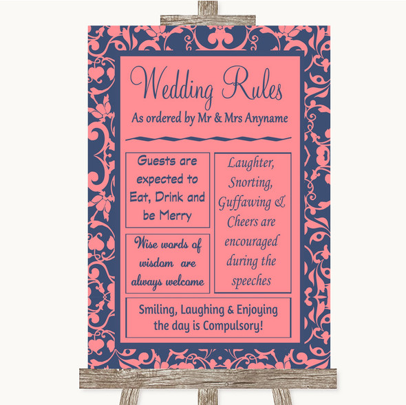 Coral Pink & Blue Rules Of The Wedding Personalised Wedding Sign