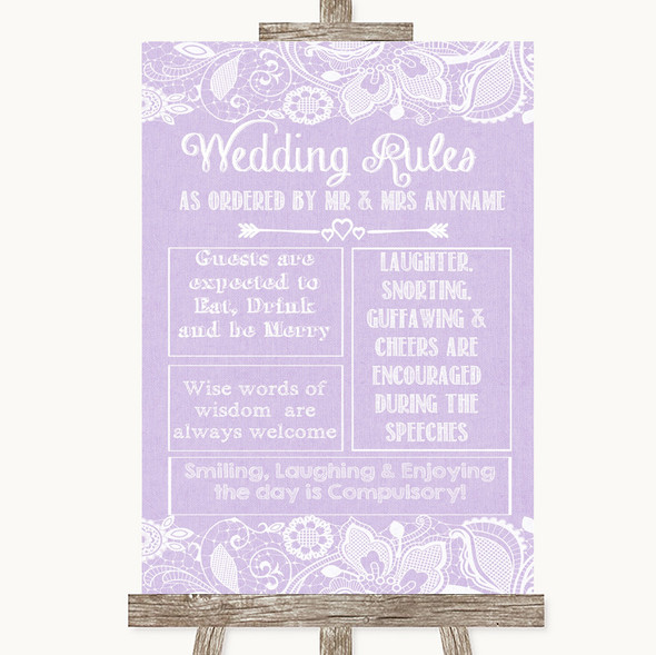 Lilac Burlap & Lace Rules Of The Wedding Personalised Wedding Sign