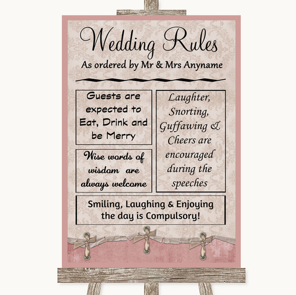 Pink Shabby Chic Rules Of The Wedding Personalised Wedding Sign