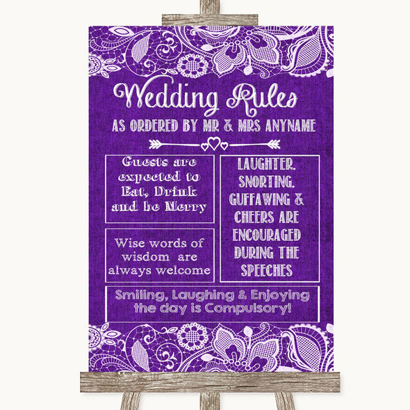 Purple Burlap & Lace Rules Of The Wedding Personalised Wedding Sign