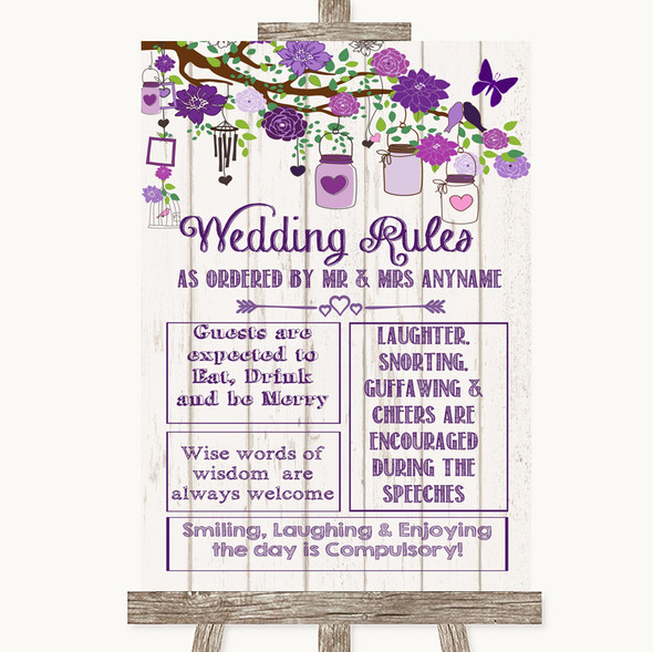 Purple Rustic Wood Rules Of The Wedding Personalised Wedding Sign