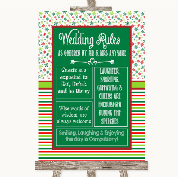 Red & Green Winter Rules Of The Wedding Personalised Wedding Sign