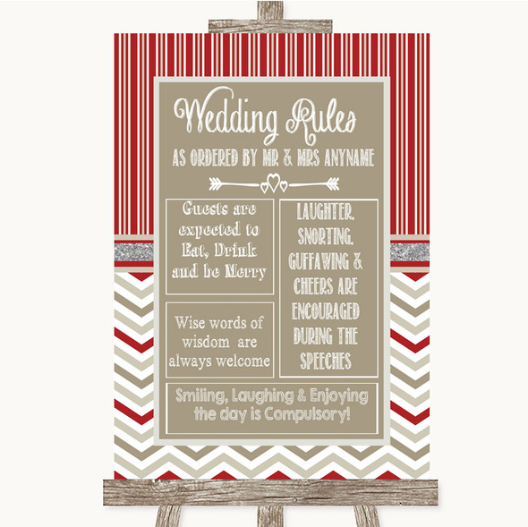 Red & Grey Winter Rules Of The Wedding Personalised Wedding Sign