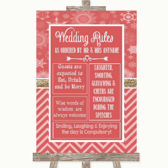 Red Winter Rules Of The Wedding Personalised Wedding Sign