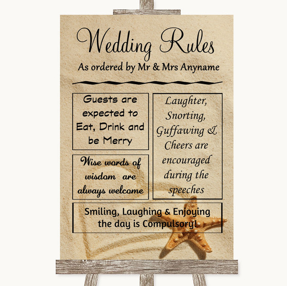 Sandy Beach Rules Of The Wedding Personalised Wedding Sign