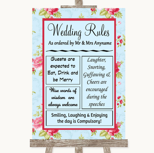 Shabby Chic Floral Rules Of The Wedding Personalised Wedding Sign