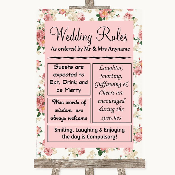 Vintage Roses Rules Of The Wedding Personalised Wedding Sign