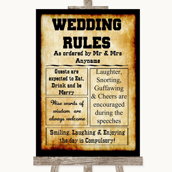 Western Rules Of The Wedding Personalised Wedding Sign
