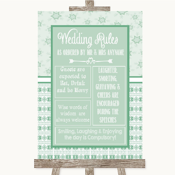 Winter Green Rules Of The Wedding Personalised Wedding Sign