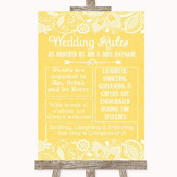 Yellow Burlap & Lace Rules Of The Wedding Personalised Wedding Sign