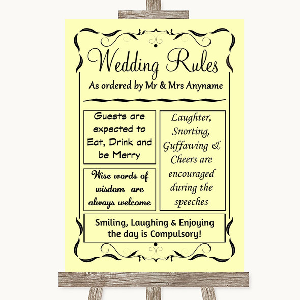 Yellow Rules Of The Wedding Personalised Wedding Sign