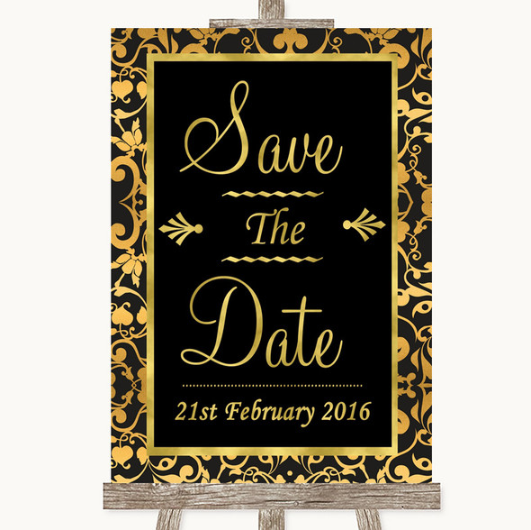 Black & Gold Damask Save The Date Personalised Wedding Sign
