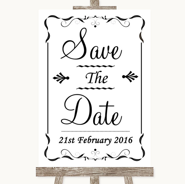 Black & White Save The Date Personalised Wedding Sign