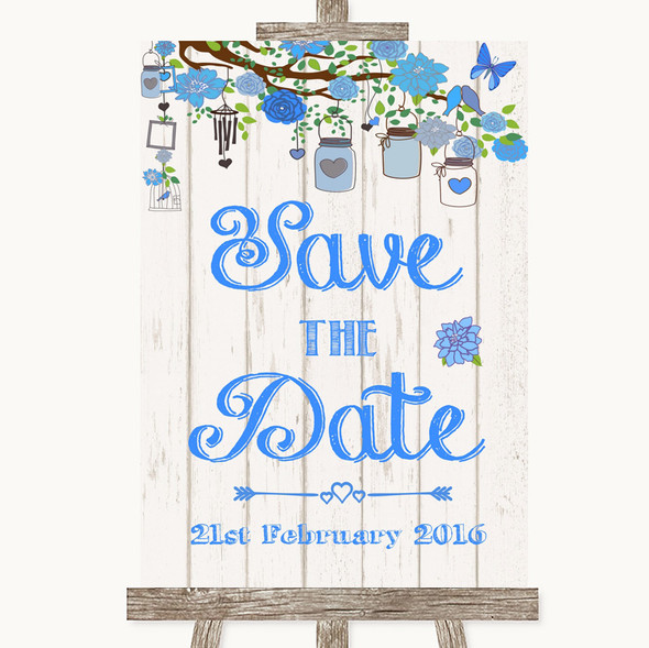 Blue Rustic Wood Save The Date Personalised Wedding Sign