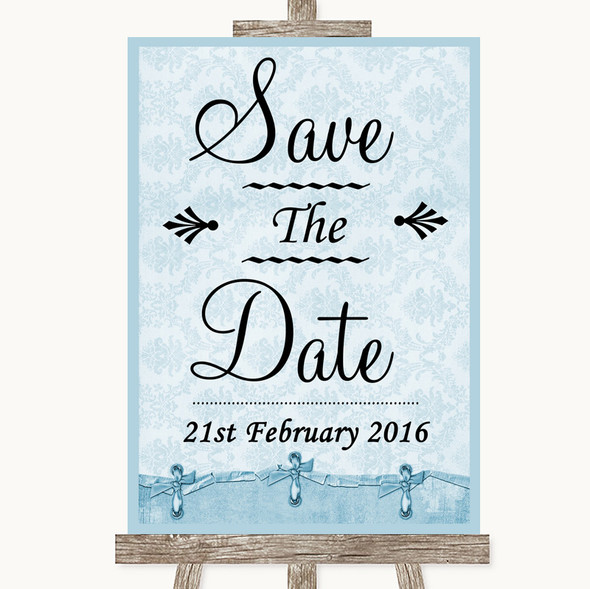 Blue Shabby Chic Save The Date Personalised Wedding Sign