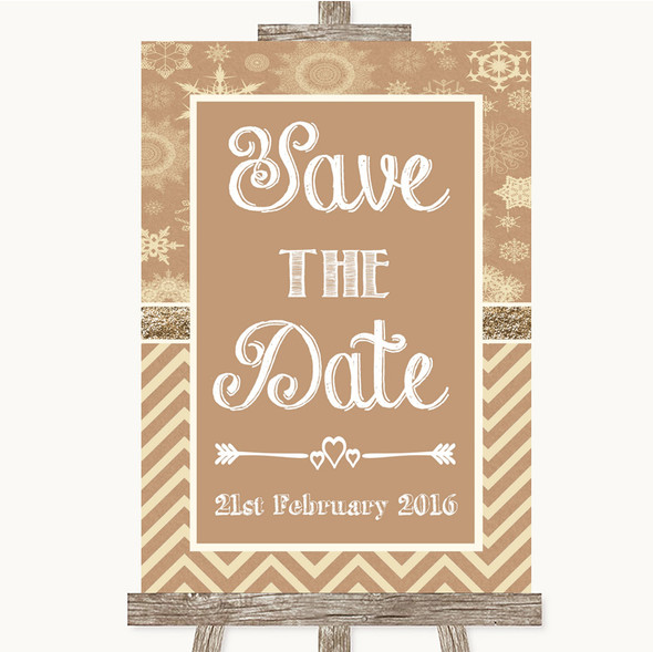 Brown Winter Save The Date Personalised Wedding Sign