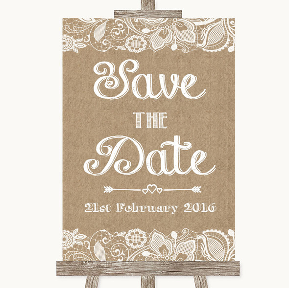 Burlap & Lace Save The Date Personalised Wedding Sign