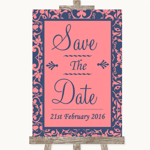 Coral Pink & Blue Save The Date Personalised Wedding Sign