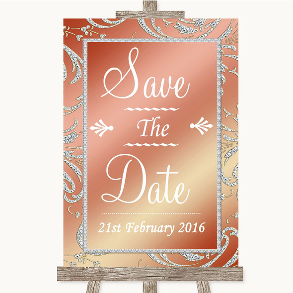 Coral Pink Save The Date Personalised Wedding Sign