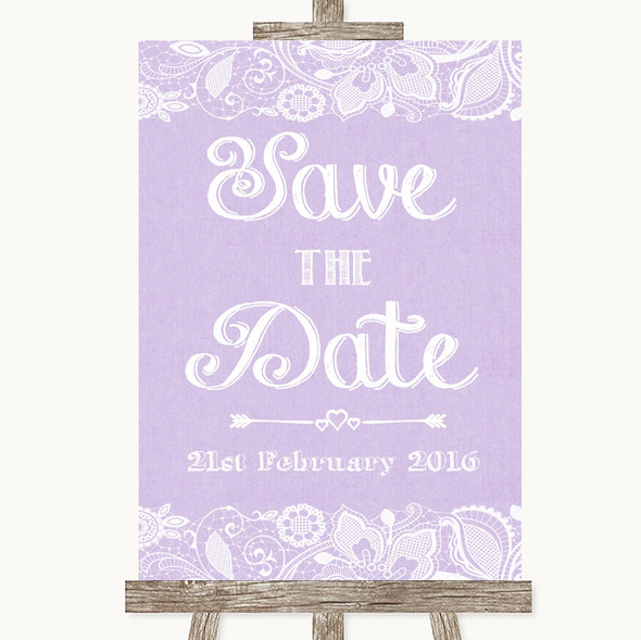 Lilac Burlap & Lace Save The Date Personalised Wedding Sign