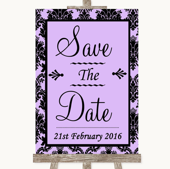 Lilac Damask Save The Date Personalised Wedding Sign