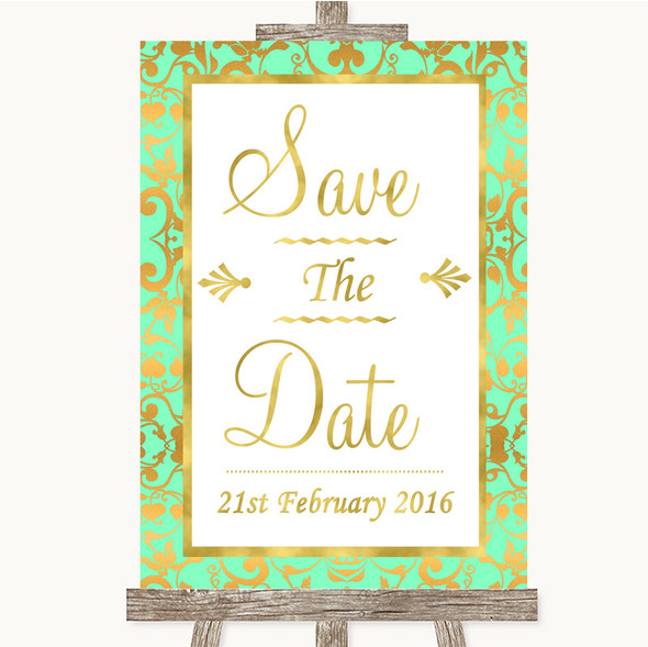 Mint Green & Gold Save The Date Personalised Wedding Sign