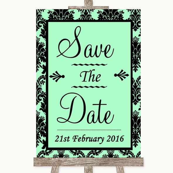 Mint Green Damask Save The Date Personalised Wedding Sign