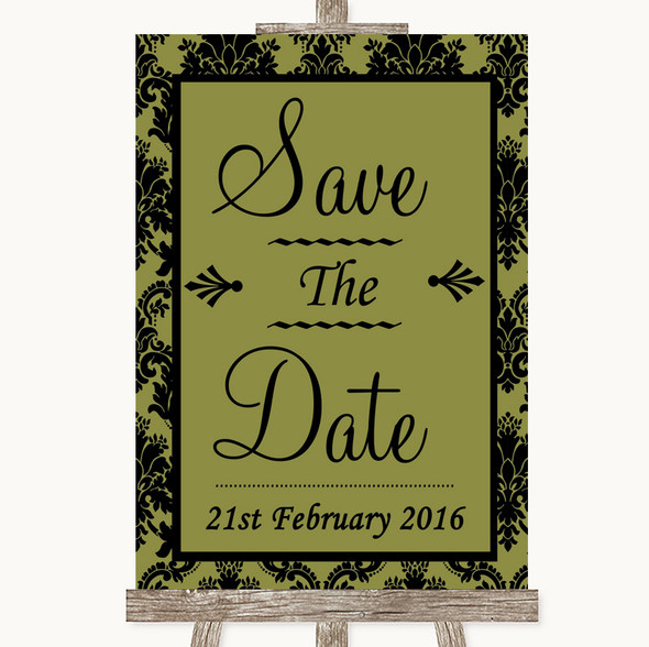 Olive Green Damask Save The Date Personalised Wedding Sign