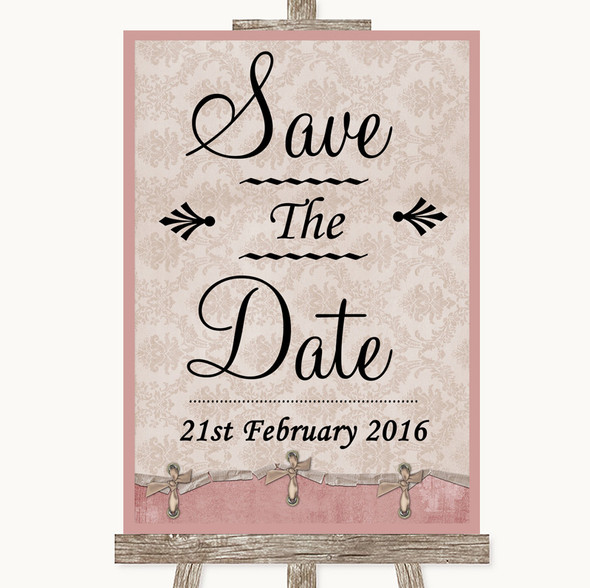 Pink Shabby Chic Save The Date Personalised Wedding Sign