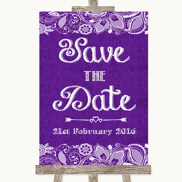 Purple Burlap & Lace Save The Date Personalised Wedding Sign