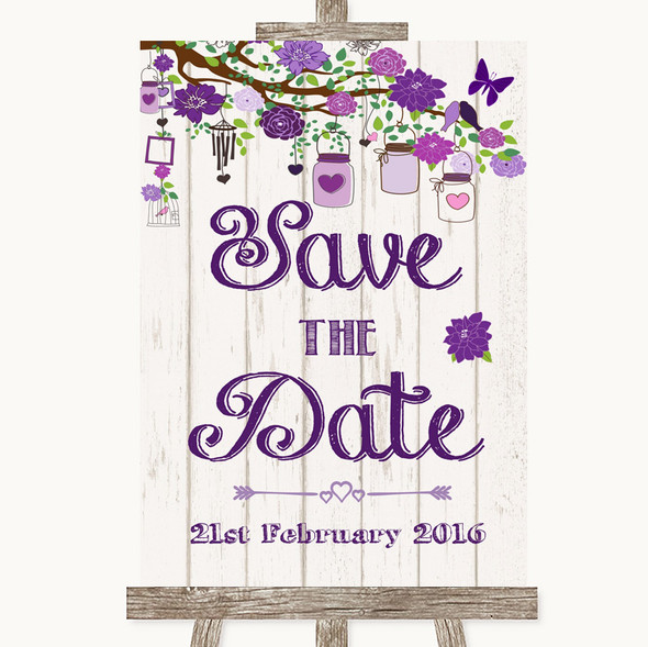 Purple Rustic Wood Save The Date Personalised Wedding Sign