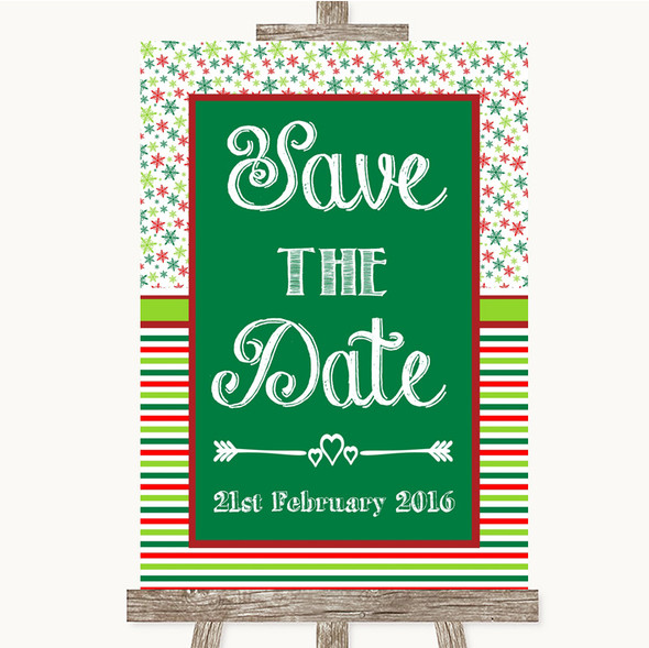 Red & Green Winter Save The Date Personalised Wedding Sign
