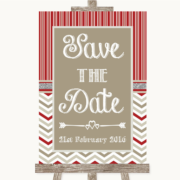 Red & Grey Winter Save The Date Personalised Wedding Sign