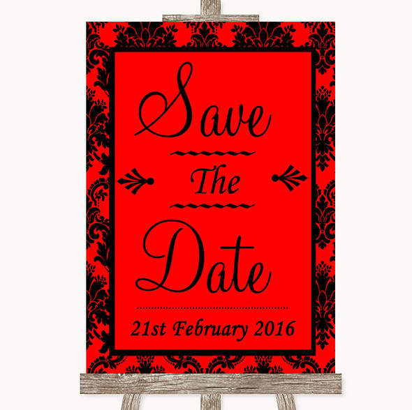 Red Damask Save The Date Personalised Wedding Sign