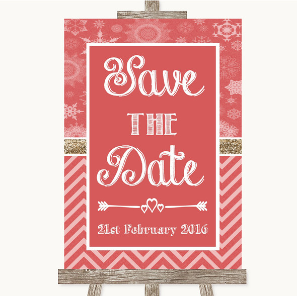 Red Winter Save The Date Personalised Wedding Sign
