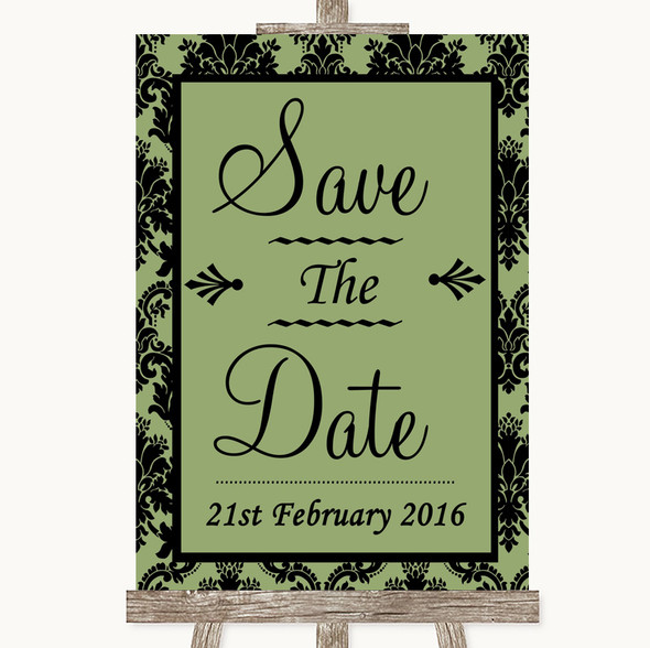 Sage Green Damask Save The Date Personalised Wedding Sign