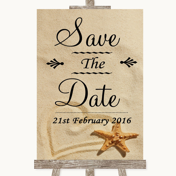 Sandy Beach Save The Date Personalised Wedding Sign