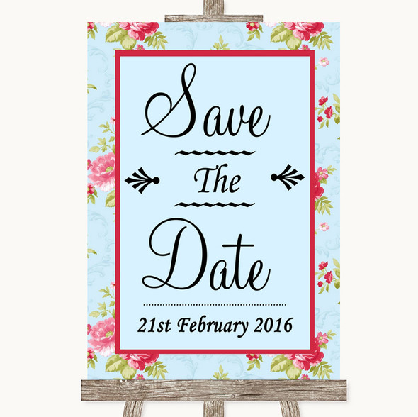 Shabby Chic Floral Save The Date Personalised Wedding Sign