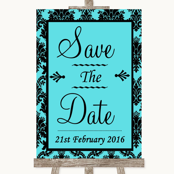 Tiffany Blue Damask Save The Date Personalised Wedding Sign