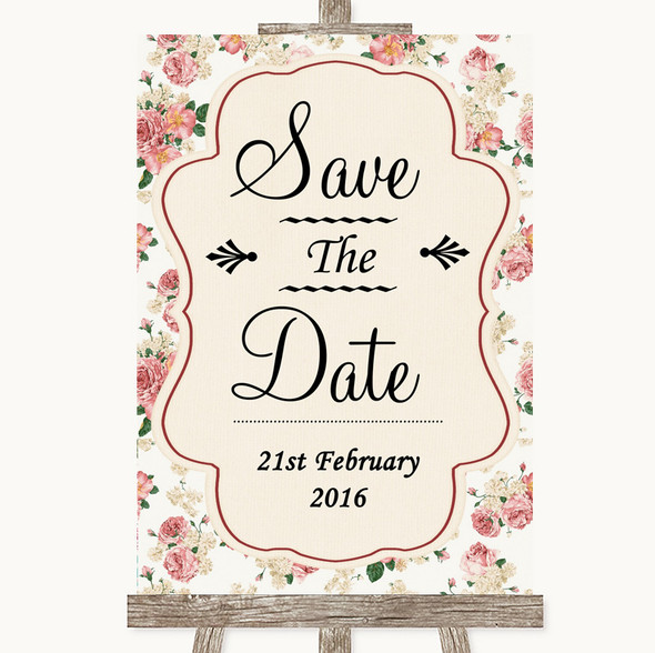 Vintage Roses Save The Date Personalised Wedding Sign