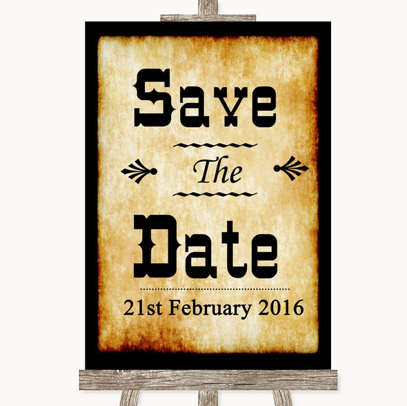 Western Save The Date Personalised Wedding Sign